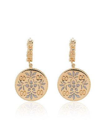 Gucci Gold And Enamel Icon Floral Earrings - Farfetch
