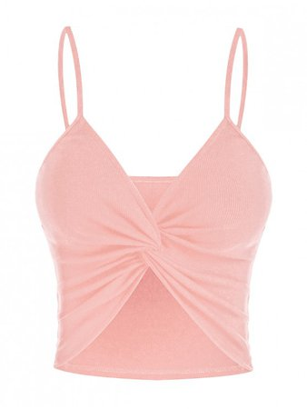 [45% OFF] [HOT] 2020 ZAFUL Ribbed Twist Crop Cami Top In PINK | ZAFUL