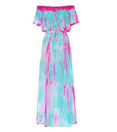 Tie-dye silk maxi dress