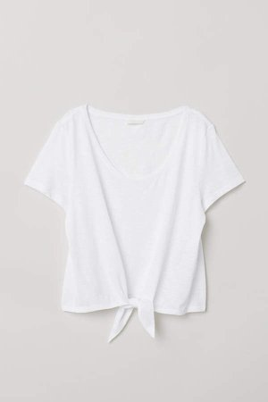 T-shirt with Tie Detail - White