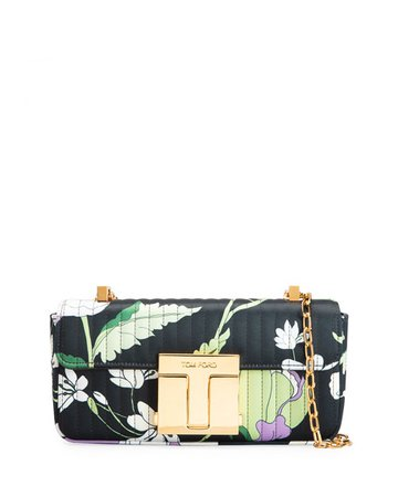 TOM FORD T-Clasp Medium Floral-Print Satin Chain Shoulder Bag