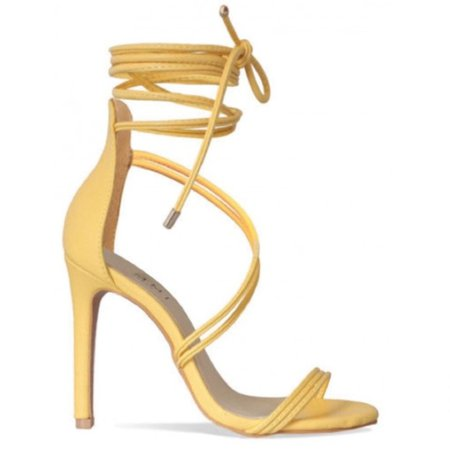 Yellow Lace Up Heels Sandals
