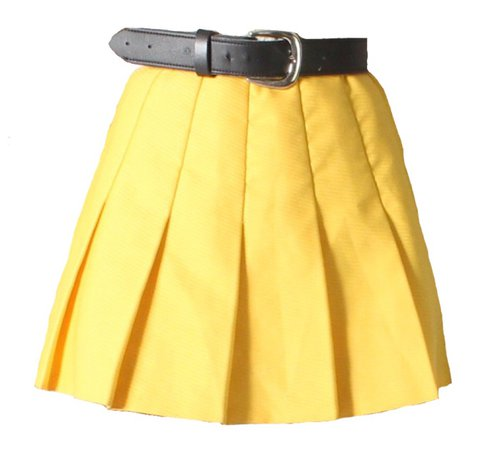 yellow belted skirt
