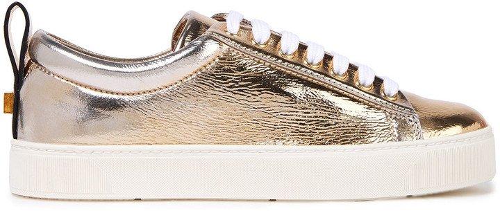 Metallic Crinkled-leather Sneakers