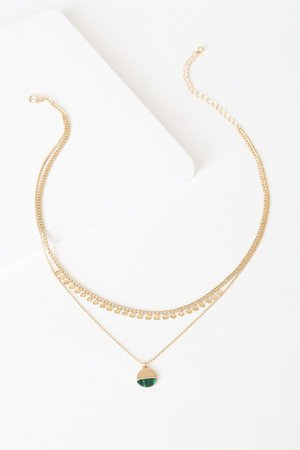 Gold and Green Necklace - Layered Necklace - Gold Necklace - Lulus
