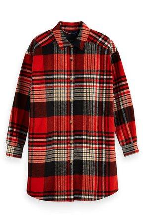 Scotch & Soda Plaid Oversize Brushed Cotton Flannel Shirt | Nordstrom