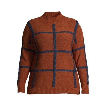 Terra & Sky - Terra & Sky Women's Plus Size Mockneck Windowpane Plaid Pullover Sweater - Walmart.com - Walmart.com