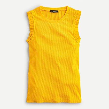 ruffle tank top yellow ruffled sleeve
