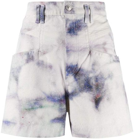 Bleached High-Waisted Denim Shorts
