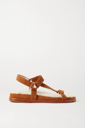 Shearling-lined Suede Sandals - Tan