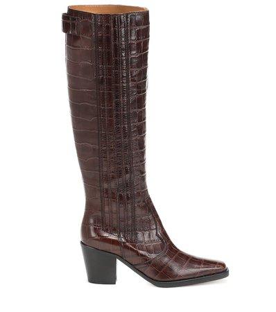 Western Knee-High Leather Boots   Ganni - Mytheresa