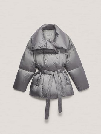Down puffer jacket with belt - Women - Massimo Dutti