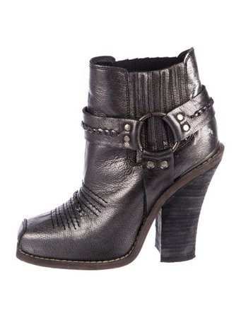Barbara Bui Metallic Leather Ankle Boots - Shoes - BAB27090 | The RealReal