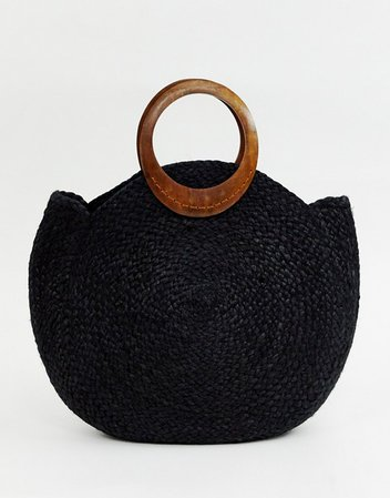 Accessorize summer straw bag in black with interest handle   ASOS