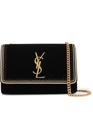 Saint Laurent | Monogramme Kate small Lurex-trimmed velvet shoulder bag | NET-A-PORTER.COM