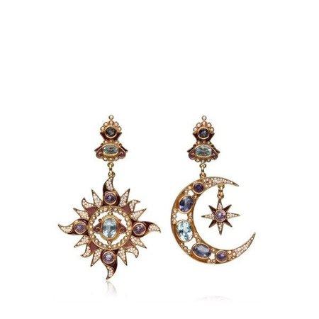 sun and moon gem earrings