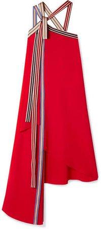 Asymmetric Grosgrain-trimmed Crepe Midi Dress - Red