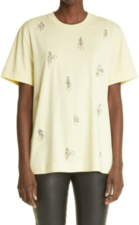 Crystal & Piercing Embellished Cotton T-Shirt