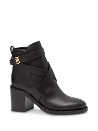 Black Burberry Monogram Motif Ankle Boots For Women   Farfetch.com