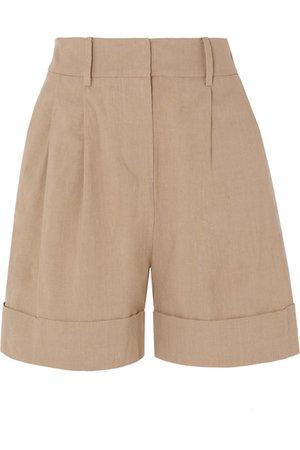 Diane von Furstenberg | Shiana pleated linen-blend shorts | NET-A-PORTER.COM