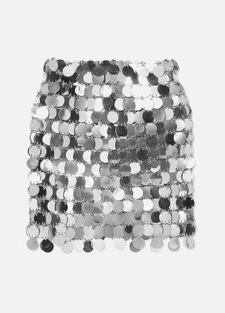Silver Sequined mini skirt | Paco Rabanne | NET-A-PORTER