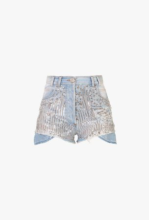 High Waisted Denim Shorts With Silver Tone Embroidery for Women - Balmain.com
