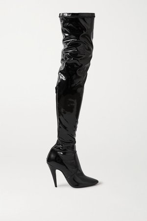 Faux Patent-leather Over-the-knee Boots - Black