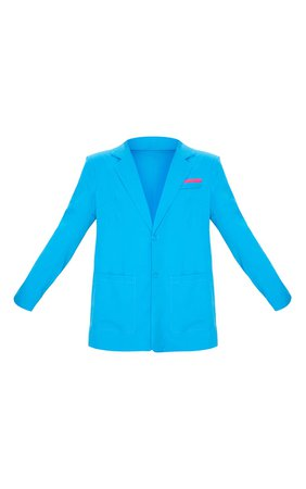 Bright Blue Oversized Blazer | PrettyLittleThing
