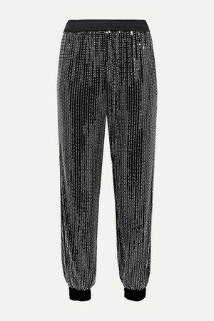 Cassie Embellished Stretch-tulle Track Pants - Black