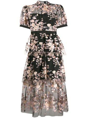 Self-Portrait Floral Sequin Embellished Dress - Farfetch