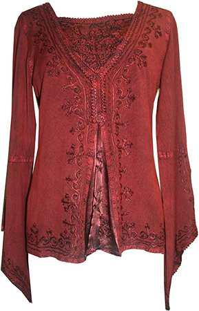 Agan Traders 01 B Renaissance Gypsy Top Blouse (2X, Red/Burgundy) at Amazon Women's Clothing store