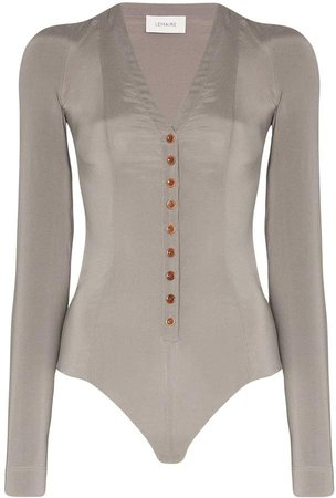 Long-Sleeve Silk Bodysuit