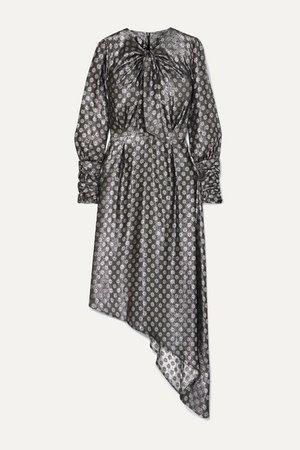 Melodi Tie-neck Asymmetric Metallic Silk-blend Jacquard Dress - Silver