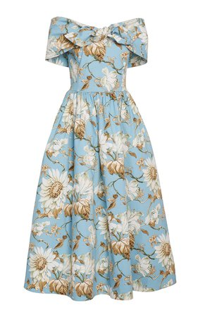 Bow-Accented Floral-Print Stretch-Cotton Dress by Oscar de la Renta | Moda Operandi
