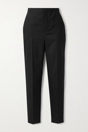Herringbone Wool Tapered Pants - Black