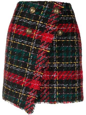 Balmain asymmtetric tweed skirt