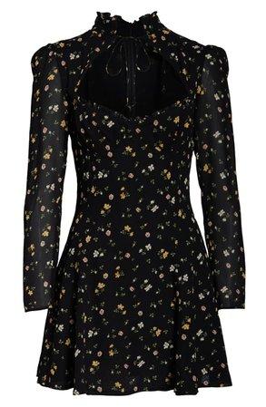 Reformation Vivianne Long Sleeve Minidress black
