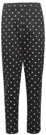 Black Spot Print Ankle Grazer Tailored Trousers