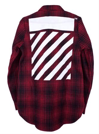 Off-White Red/Black Tartan Diagonal Flannel Shirt – Antoinette.shop
