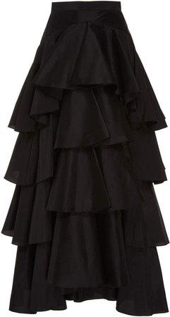 Tiered Taffeta Maxi Skirt