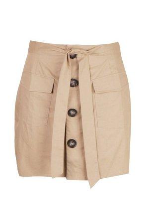 Plus Tie Horn Button Military Skirt | Boohoo