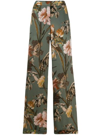 Off-White Floral Print Flared Trousers | Farfetch.com