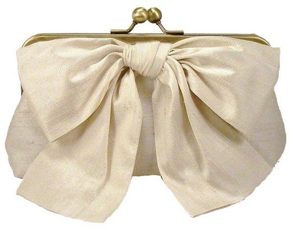 cream bow clutch