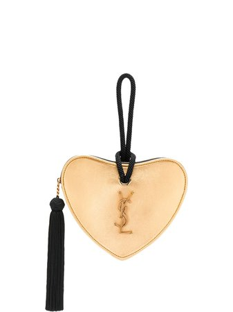 Saint Laurent Monogram Heart Metallic Clutch Ss20 | Farfetch.com