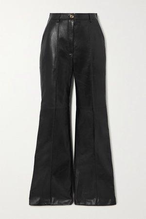 Black Leather straight-leg pants | Gucci | NET-A-PORTER