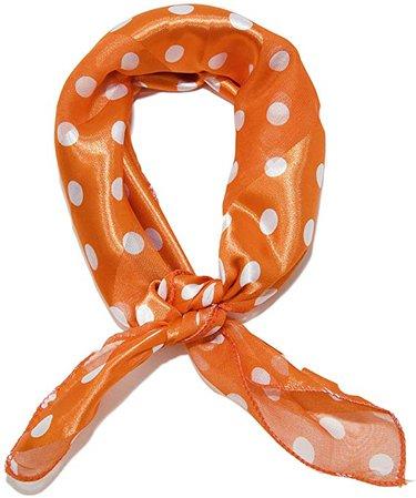 Sidecca Retro Classic Chiffon Square Neck Head Scarf (One Size, Satin Polka Dot Orange) at Amazon Women's Clothing store