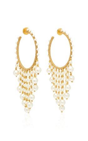 Gold-Tone And Faux-Pearl Hoop Earrings by Oscar de la Renta | Moda Operandi