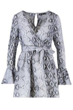 Petite Snake Print Woven Long Sleeve Skater Dress | Boohoo