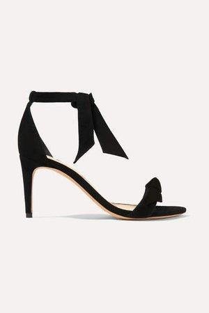 Clarita Bow-embellished Suede Sandals - Black