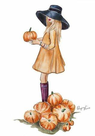 girl drawing fall - Google Search